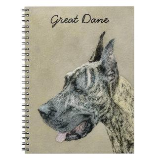 Great Dane (Brindle) Painting - Original Dog Art Notebook