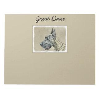 Great Dane (Brindle) Painting - Original Dog Art Notepad