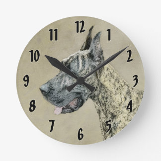Great Dane (Brindle) Painting - Original Dog Art Round Clock