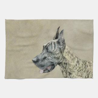 Great Dane (Brindle) Painting - Original Dog Art Tea Towel