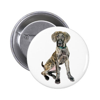 Great Dane Brindle Puppy Pinback Buttons