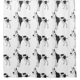 great dane cartoon 2 shower curtain