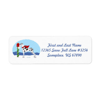 Great Dane Christmas Mail Harlequin UC Return Address Label