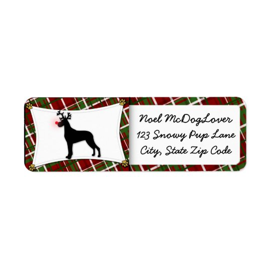 Great Dane Christmas Return Address Label