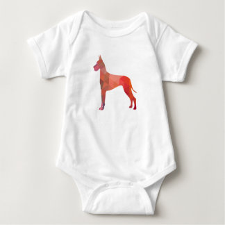 Great Dane Colorful Geometric Pattern Silhouette Baby Bodysuit