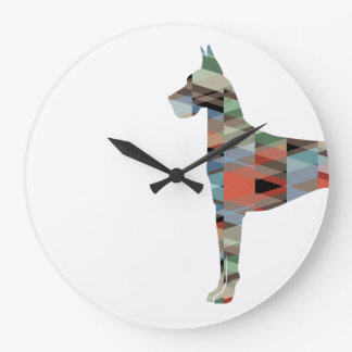 Great Dane Colorful Geometric Pattern Silhouette Large Clock