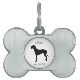 Great Dane dog custom name & phone no. dog id tag