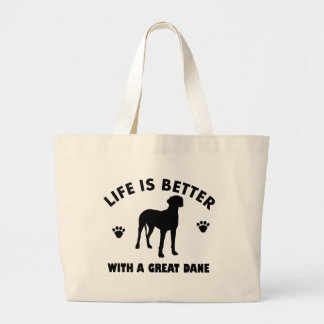 Great Dane dog design Large Tote Bag