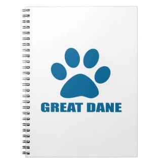 GREAT DANE DOG DESIGNS NOTEBOOK