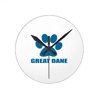 GREAT DANE DOG DESIGNS ROUND CLOCK