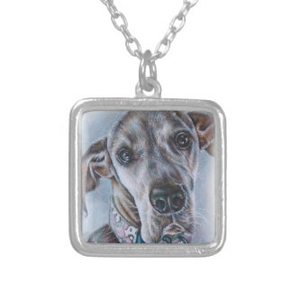 Great Dane Dog Drawing Design Silver Plated Necklace