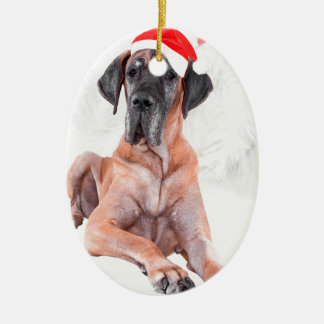 Great Dane Dog Hat Merry Christmas Ceramic Oval Decoration