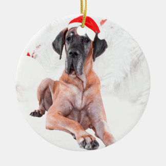 Great Dane Dog Hat Merry Christmas Round Ceramic Decoration