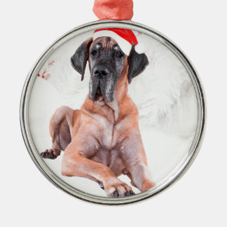 Great Dane Dog Hat Merry Christmas Silver-Colored Round Decoration