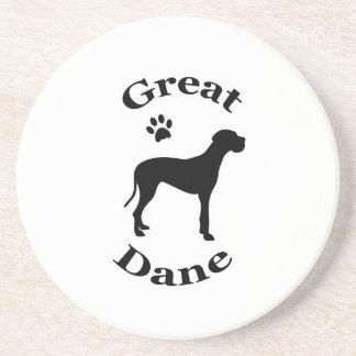 great dane dog pawprint silhouette coaster