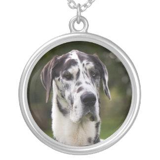 Great Dane dog portrait necklace, gift idea Round Pendant Necklace
