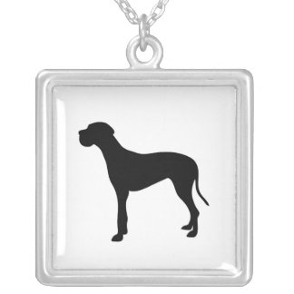 Great Dane dog silhouette necklace, gift idea Square Pendant Necklace