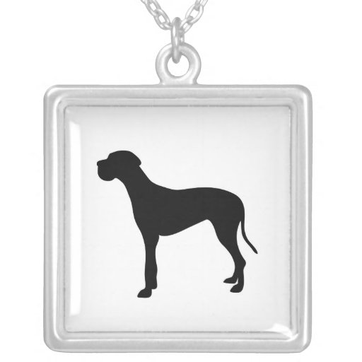 Great Dane dog silhouette necklace, gift idea