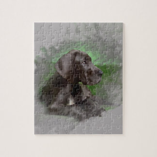 Great Dane Dog Sitting Watercolor Art Portrait Jigsaw Puzzle