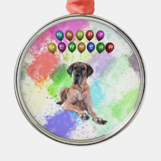 Great Dane Dog Wishing Happy New Year Silver-Colored Round Decoration
