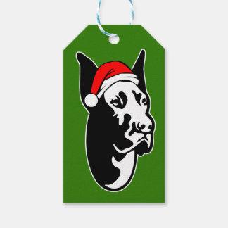 Great Dane Dog with Christmas Santa Hat Gift Tags