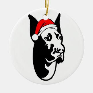 Great Dane Dog with Christmas Santa Hat Round Ceramic Decoration