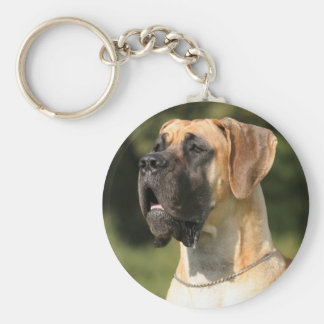 Great dane - fawn/German Dogge - yellow Basic Round Button Key Ring