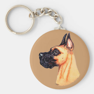 Great Dane Fawn HS PT Basic Round Button Key Ring
