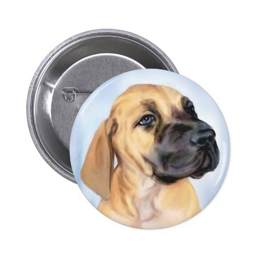 Great Dane Fawn Puppy Pinback Button
