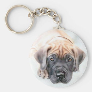 Great Dane Fawn Ransom Pup Basic Round Button Key Ring