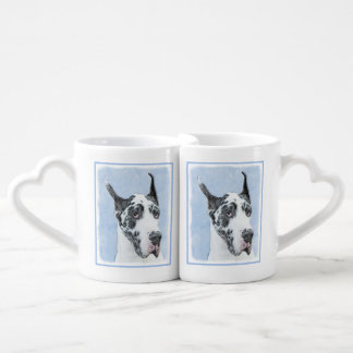 Great Dane (Harlequin) Painting - Original Dog Art Coffee Mug Set