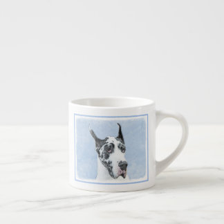 Great Dane (Harlequin) Painting - Original Dog Art Espresso Cup