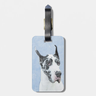 Great Dane (Harlequin) Painting - Original Dog Art Luggage Tag
