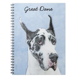 Great Dane (Harlequin) Painting - Original Dog Art Notebook