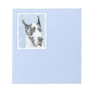 Great Dane (Harlequin) Painting - Original Dog Art Notepad