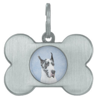 Great Dane (Harlequin) Painting - Original Dog Art Pet ID Tag