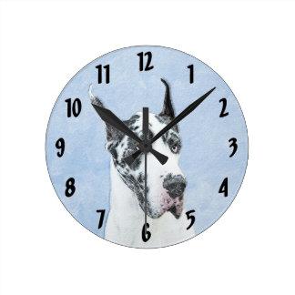 Great Dane (Harlequin) Painting - Original Dog Art Round Clock