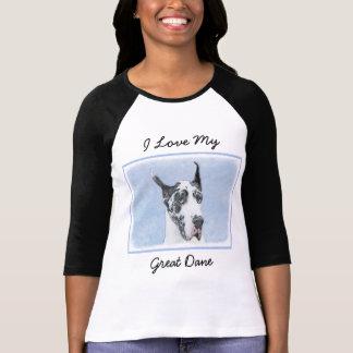 Great Dane (Harlequin) Painting - Original Dog Art T-Shirt