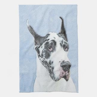 Great Dane (Harlequin) Painting - Original Dog Art Tea Towel