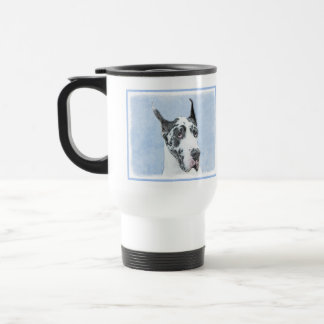 Great Dane (Harlequin) Painting - Original Dog Art Travel Mug