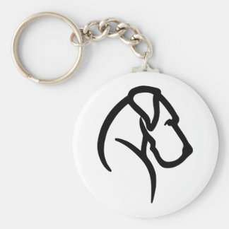 Great Dane Head Pet Tag Basic Round Button Key Ring