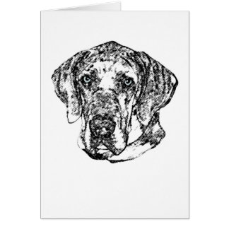 Great Dane Hero Sketch greeting card