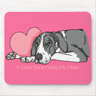 Great Dane Holds Heart Mantle UC Mouse Pad