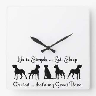 Great Dane Humor Eat Sleep  Dog Pet Animal Square Wall Clock