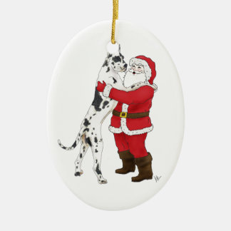 Great Dane Jowly Christmas Greeting Ceramic Oval Decoration