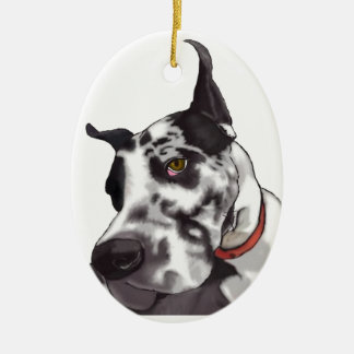 Great Dane Love Ceramic Oval Decoration