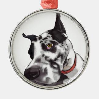 Great Dane Love Silver-Colored Round Decoration