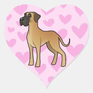 Great Dane Love (natural) Heart Sticker