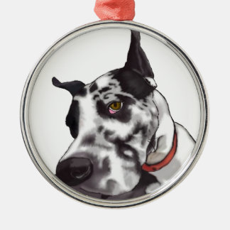 Great Dane Love Silver-Colored Round Decoration