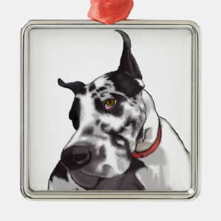 Great Dane Love Silver-Colored Square Decoration